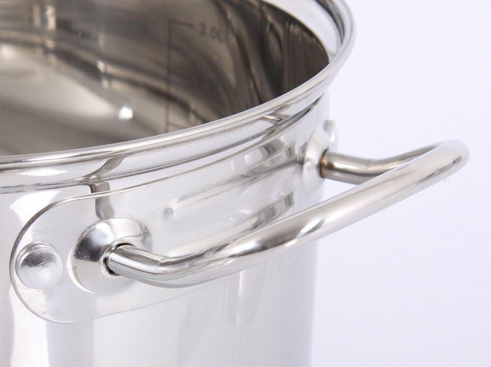 pentola con coperchio in vetro 1,5 L Glasdeckel Acciaio per induzione diverse varianti a scelta Loremis 16 cm 16 Cm