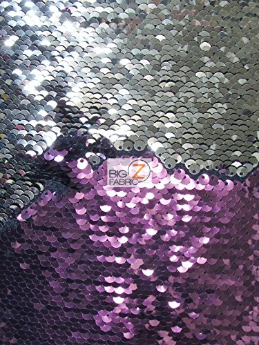 MERMAID PILLOW SEQUIN SPANDEX FABRIC BY THE YARD FLIP UP DRESS SEQUINS SEXY GLO REVERSIBLE (Shiny Plum/Shiny Silver) (Plum Shiny)