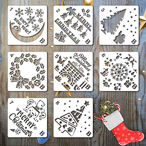 (KOMIWOO Christmas Stencils Templates - 8 Pack Merry Chrismas, Stanta Claus, Snowflakes, Balls, Trees, Reindeers, Gift Boxes for Xmas Holiday Craft Party Decorations 5
