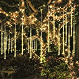 ECOWHO Meteor Shower Lights, Connectable LED Falling Rain Drop Romantic Christmas Lights for Party, Wedding, Halloween, etc. 16ft 8 Tubes(Pack of 2, Warm White)