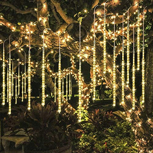 ECOWHO Meteor Shower Lights, Connectable LED Falling Rain Drop Romantic Christmas Lights for Party, Wedding, Halloween, etc. 16ft 8 Tubes(Pack of 2, Warm White) by ECOWHO