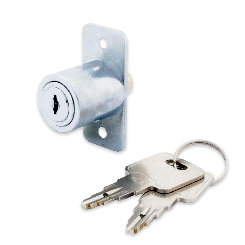 FJM Security 1635-KA Sliding Door Cabinet Lock with Chrome Finish, Keyed Alike