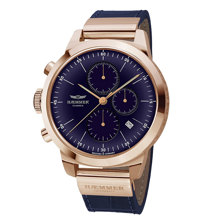 HAEMMER HK-05 MELODICA Chronograph Uhr Herrenuhr Lederarmband vergoldet 10 bar Analog Chrono Datum Blau