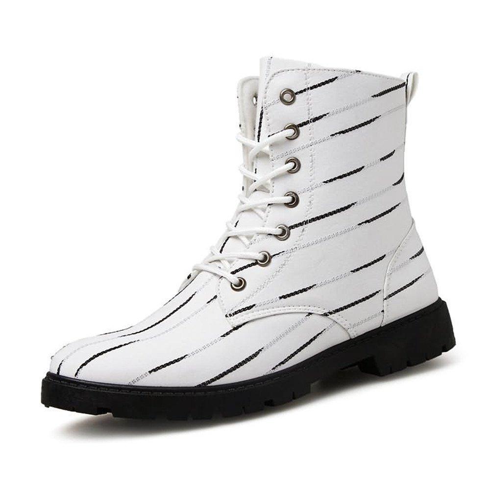Martin Boots para Hombre Casual The Striped Zebra On The Prairie es una Gran Moda británica Sport Rider Zapatos 44 EU Blanco