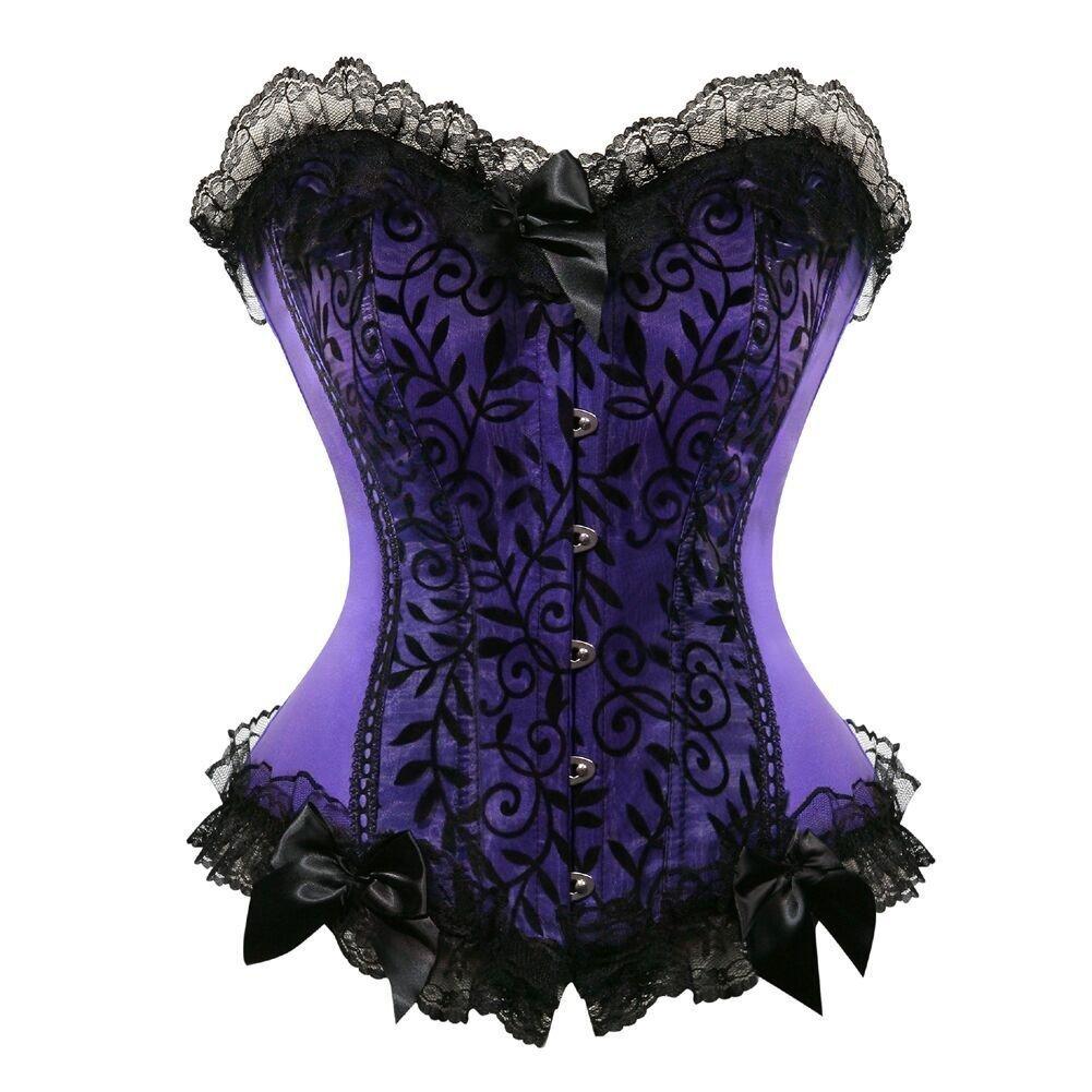 Purple1 Xansengs Women's Lace up Boned Overbust Corset Bustier Bodyshaper Top