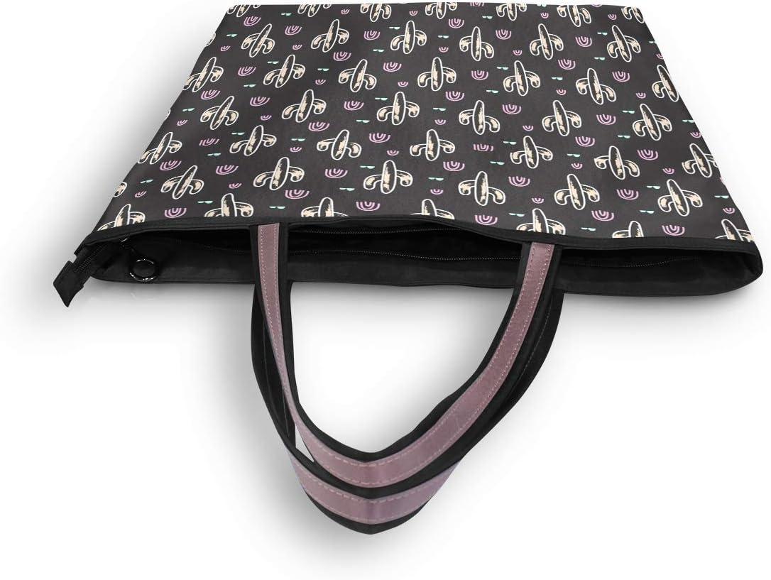 Women Handle Cactus Plant Black Satchel Handbags Tote Purse Shoulder Bag Big Capacity Handbag