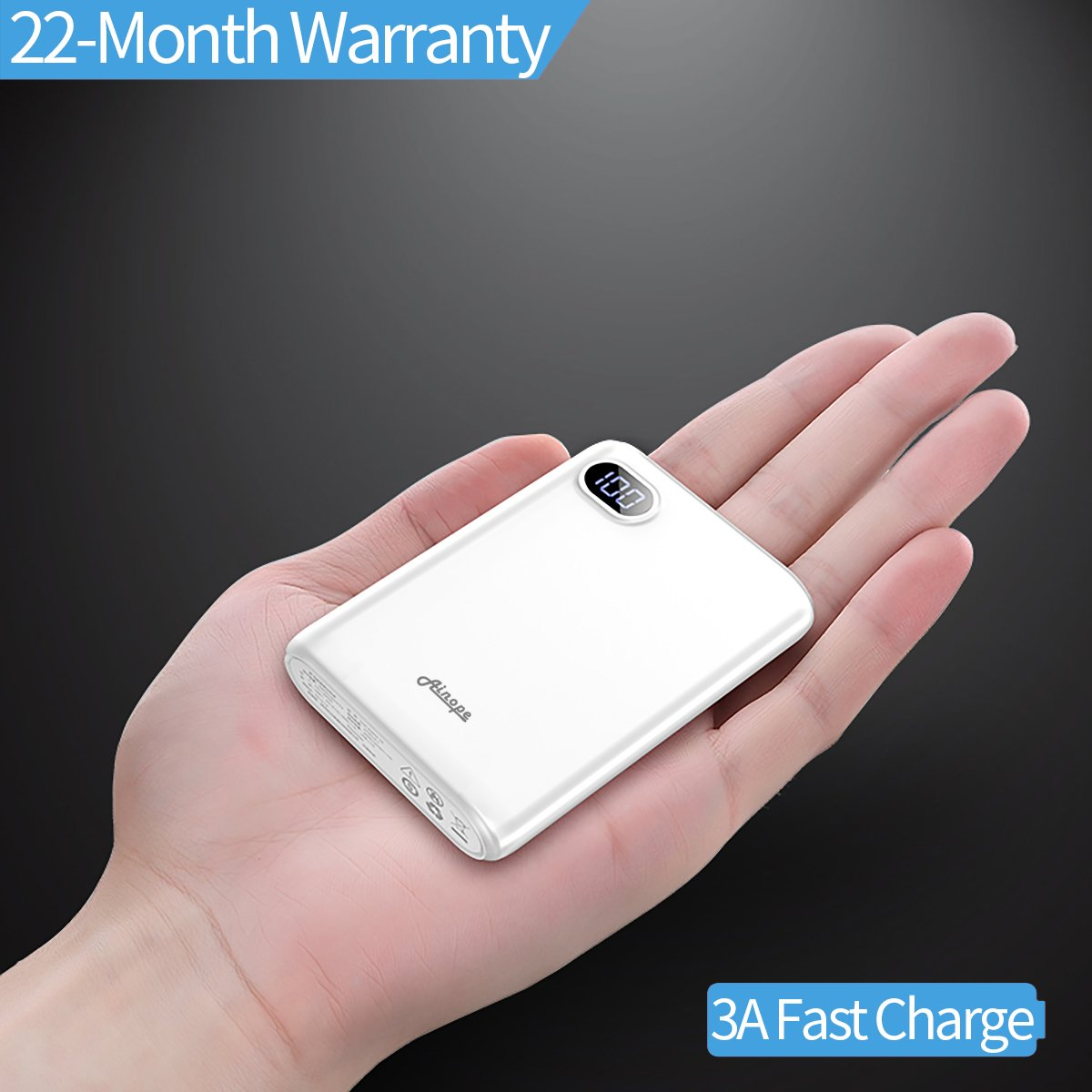 10000mAh Portable Charger,(Smallest) (LCD Display) (Powerful) Ainope External Battery Pack/Battery Charger/Phone Backup Power Bank with Dual USB Output(3.1A),Perfect Carry for Travel-White