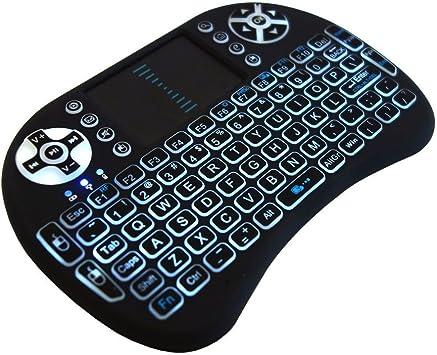 Retroiluminada Mini teclado inalámbrico con Touchpad y Multimedia de teclas para Android KODI XBMC TV Box, PlayStation, Xbox, PC, portátil, Smartphone ...