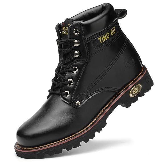 WODEQ Zapatillas de Seguridad Hombre Trabajo Piel Botas con ...