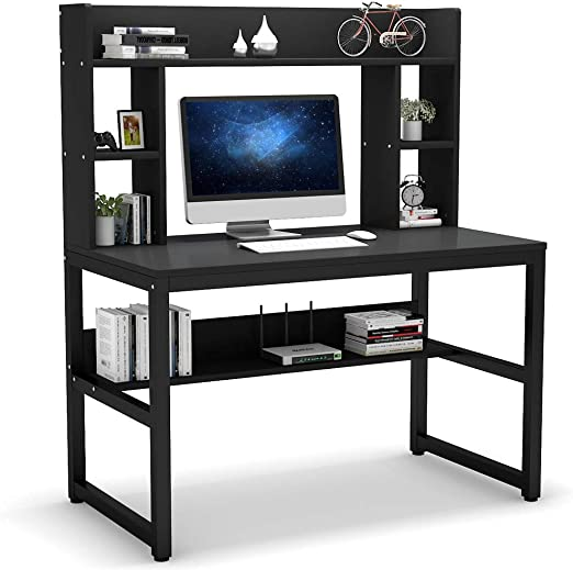 Tribesigns Computer Desk with Hutch, Modern Writing Desk with Storage  Shelves, 47 Inches Compact Office Desk Study Table Workstation for Home  Office, ...