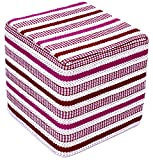 Design Accents Herringbone Hand Woven Pouf, 18-Inch by 18-Inch by 18-Inch, Red/Ivory/Pink