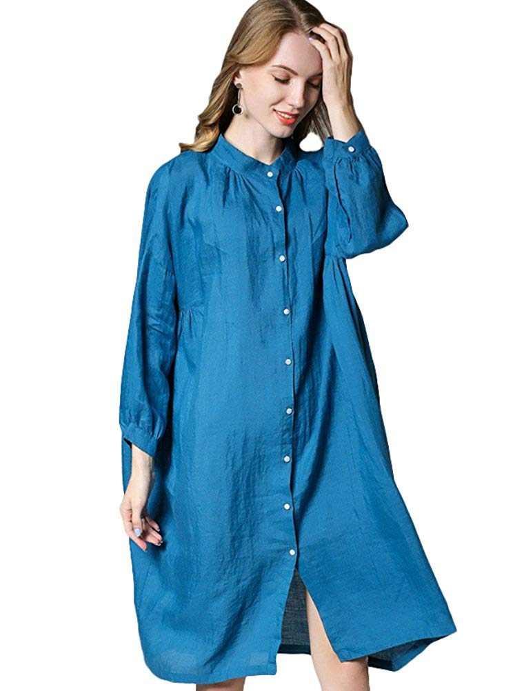 Oudan Women's Plus Batwing Shirt Dress Long Sleeve Casual Loose Blouse (color   bluee, Size   XLarge)