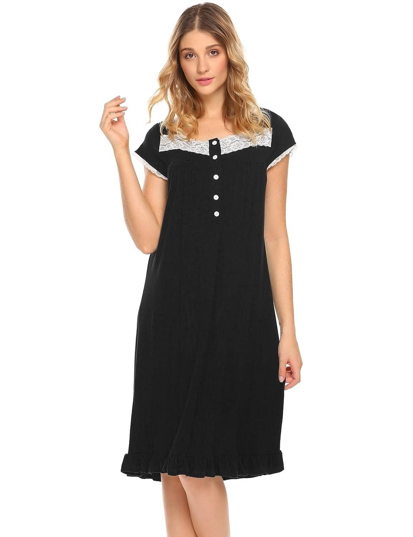 Hotouch Women's Nightgown Bamboo Viscose Short Sleeve Sleep Dress Victorian Sleepwear S-XXL PXK000113