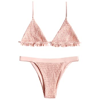 Women's Spaghetti Strap Shirred Ruffles Bralette Triangle Bikini Set