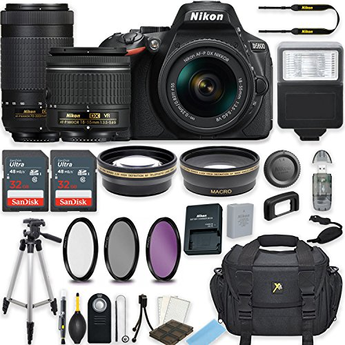 Nikon D5600 24.2 MP DSLR Camera (Black) w/AF-P DX NIKKOR 18-55mm f/3.5-5.6G VR Lens & AF-P DX NIKKOR 70-300mm f/4.5-6.3G ED Lens Bundle includes 64GB Memory + Filters + Deluxe Bag + Accessories
