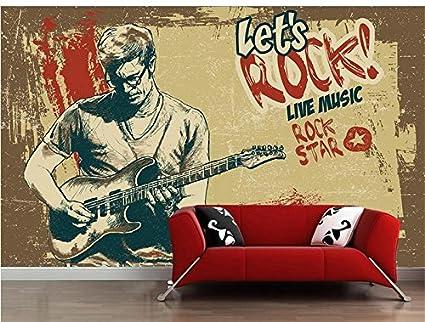 Yosot Foto 3D Personalizado Sala De Papel pintado Mural Pintado A Mano Guitarra Europea 3D Pintura