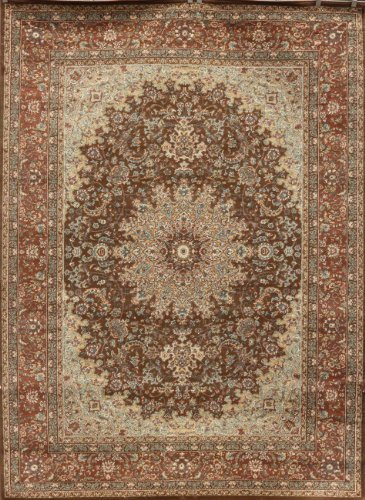 Feraghan/New City Traditional Isfahan Wool Persian Area Rug, 8' x 10', Chocolate Brown