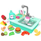 KIDPAR 28 Pcs Color Changing Kitchen Play Sink Toys for Kids, Toddler Electric Dishwasher with Running Water, Automatic Water
