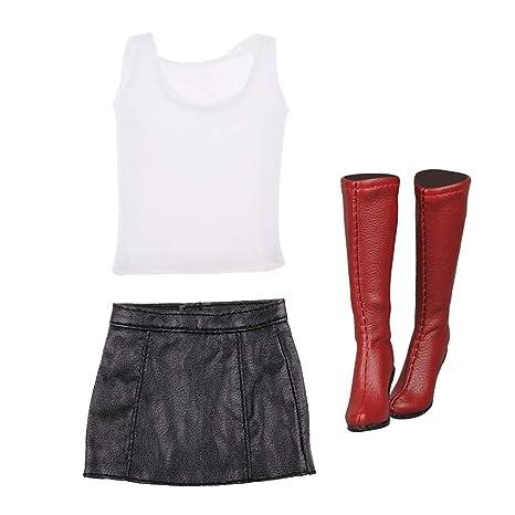 a34f7b4e014 Amazon.com: B Blesiya 1/6 Female Body Top Vest Mini Skirts Long ...