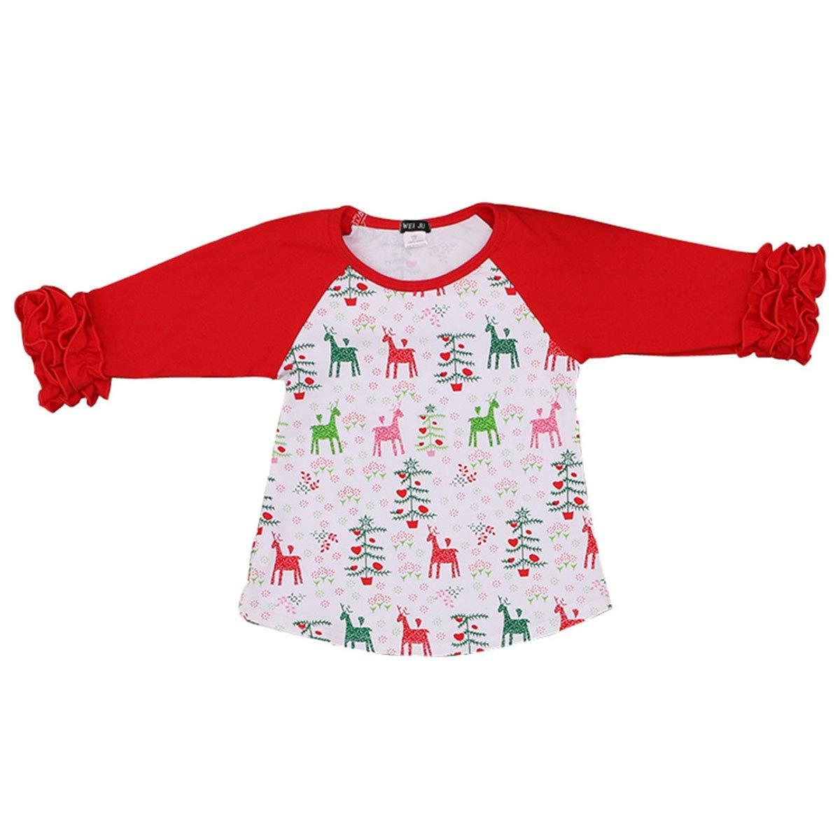 9356c15fd Amazon.com: WEIJU 2-5 Years Baby Girls Child 100% Cotton Scoop Neck Lace Long  Sleeve Tee Shirts: Clothing