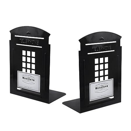 1 Paar Buchst/ützen CD-St/änder Retro Telefonzelle Stil Katalogst/ützen Metall Stehsammler Schreibtisch Organizer Halter