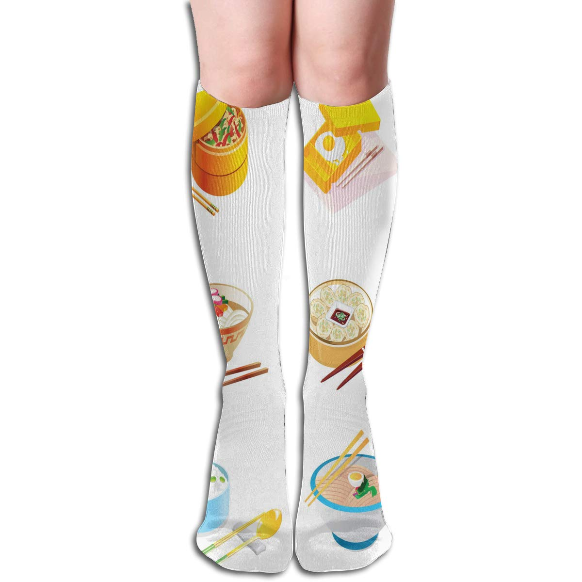 Girls Socks Over Knee White Tiger Galaxy Abstract Art Winter Trendy For Decor