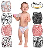 Cloth Diapers for Baby - Set of 7 Reusable Pocket Diaper and 7 Inserts Liners - All In One - For Boys and Girls - Suitable Unisex Covers - Great Baby Shower Gift
