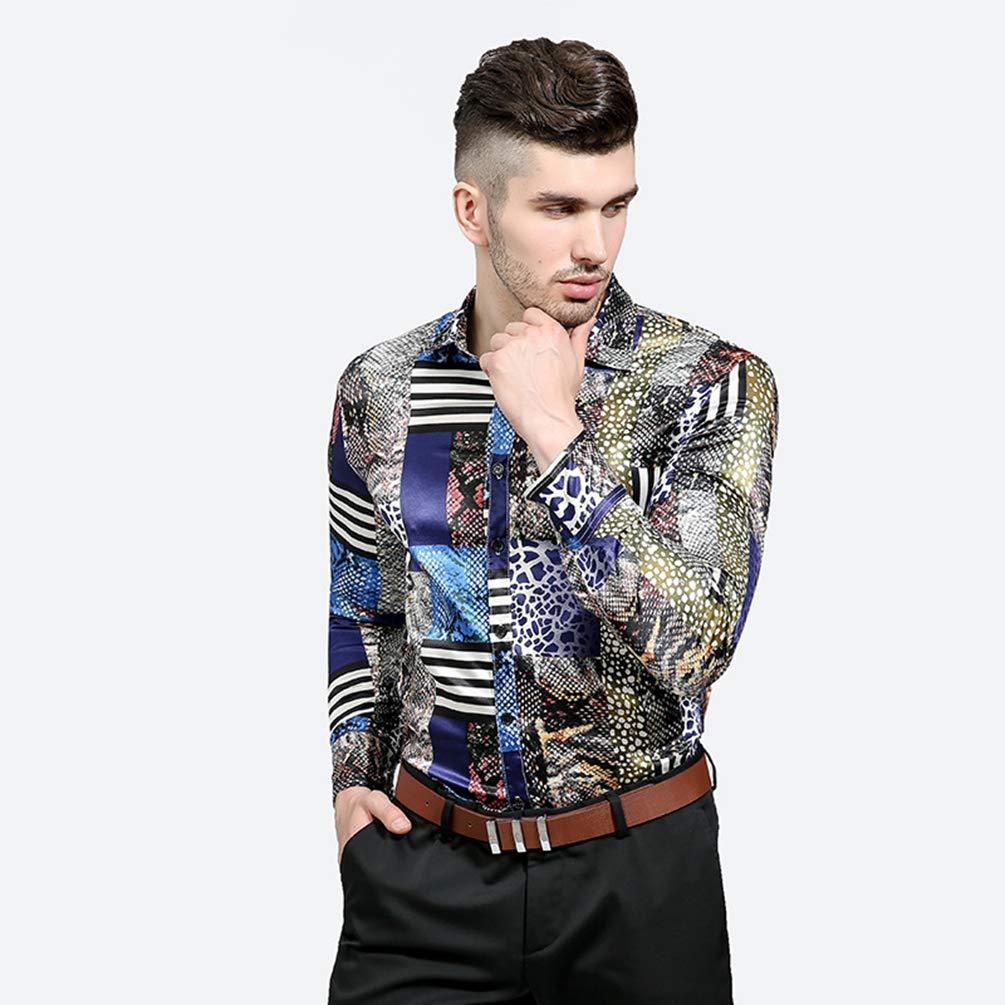 WanYangg Camisas para Hombre Elegantes Jovenes Camisa De Manga Larga  Personalidad De Impresi ó n Solapa ... aa6835f5645de