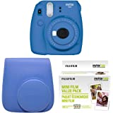 Fujifilm Instax Mini 9 Instant Camera with Instax Groovy Camera Case (Cobalt Blue) & Instax Mini Instant Film Value Pack