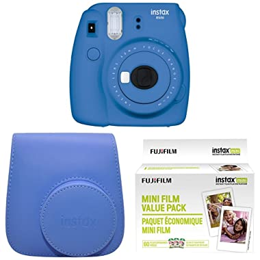Fujifilm Instax Mini 9 Instant Camera with Instax Groovy Camera Case (Cobalt Blue) & Instax Mini Instant Film Value Pack