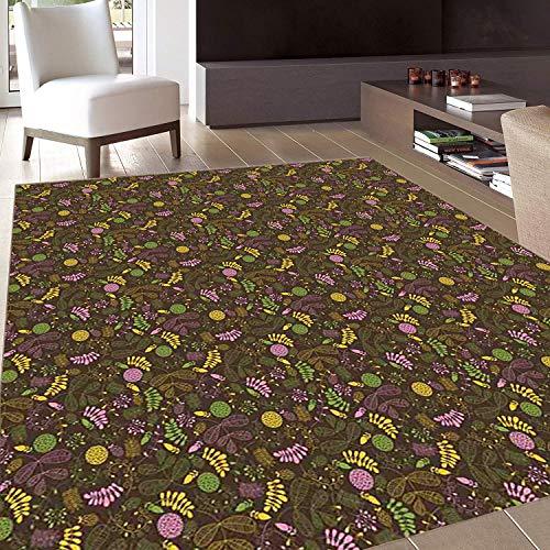 Flower,AreaRug,Doodle Blooming Foliage and Petals Flourishing Nature Pattern on Dark Background,Home mat,5'x6'Multicolor,RubberNonSlip,Indoor/FrontDoor/KitchenandLivingRoom/Be ()