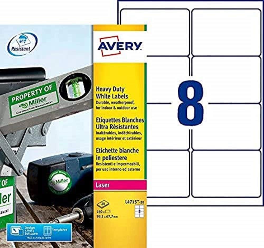 Avery España L4715-20 - Cajaj de 20 hojas de etiquetas blancas de poliéster, 99.1 x 67.7 mm: Amazon.es: Oficina y papelería