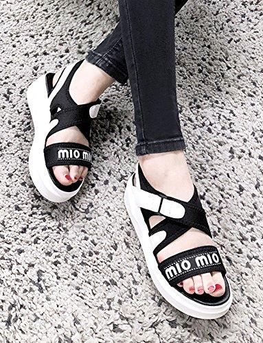 Scratch Sandales Epaise Plateforme Noir Semelle Aisun Fête Femme Confortable q6wpg