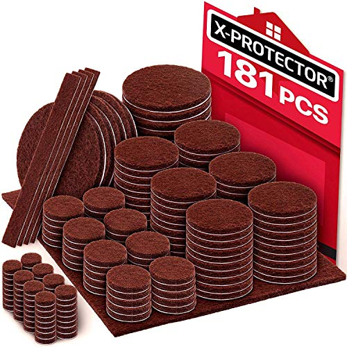X-PROTECTOR Premium Ultra Large Pack Felt Furniture Pads 181 Piece! Felt Pads Furniture Feet All Sizes - Your Best Wood Floor Protectors. Protect Your Hardwood Flooring with 100% Satisfaction! (Felt Feet Pads Chair)