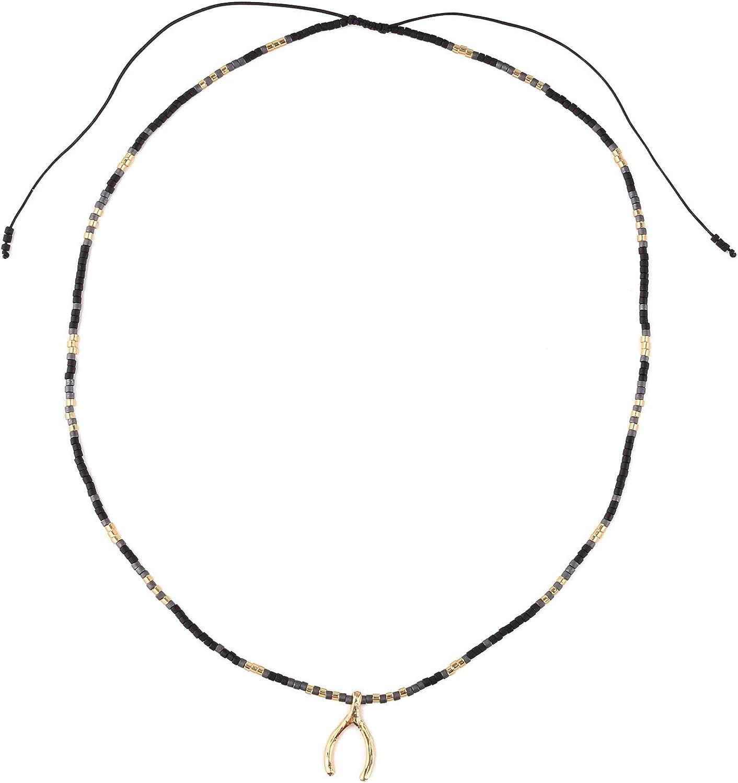 KELITCH Gargantilla Collares simples con cuentas en forma de Y, cadena fina y collar de amistad para niña