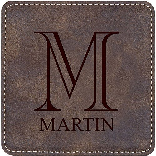 (Faux Leather Coaster Set, 4 Pieces, with Holder, Distressed Saddle Brown, Personalized, Initial and Name Included)