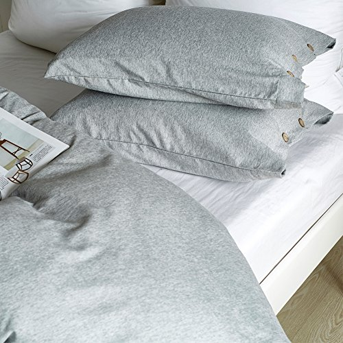 AiMay Duvet Cover Set 3 Piece Bedding Sets 100% Luxury 150g Double Brushed Microfiber With Coconut Button Closure Solid Color Premium Linen Style Ultra Soft More Durable (KING, GRAY) by AiMay (Image #7)