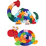 LovesTown 2Pcs Wooden Animal Puzzles, Alphabet Jigsaw Puzzle Building Blocks Alphabet Animal Puzzle for Children Toddlers-Sna