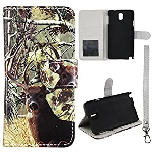Flip Wallet Camo Tail Deer Samsung Galaxy Note 3 III N9000 Leather Case With ID Pouch Case Cover Hard Phone Case Snap-on Cover Rubberized Touch Protector Faceplates