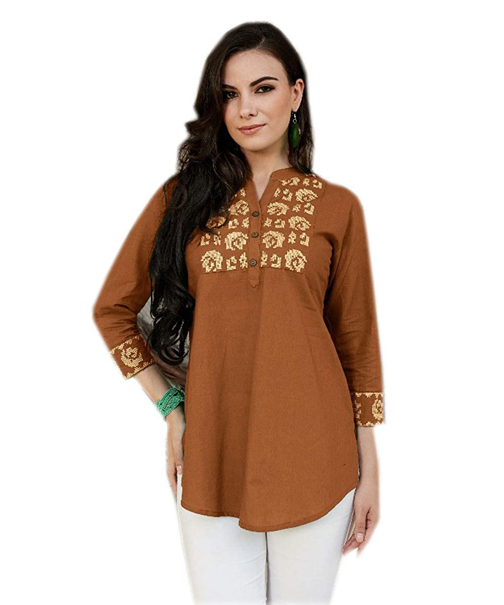 Jayayamala Women Brown Cotton Tunic Collar Neck Shirt Down The Button Work Dress
