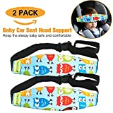 infant car seat cushion covers - HULISEN 2Pcs Infants and Baby Head Support Band, Carseat Straps Covers, Slumber Sling, Toddler Car Seat Adjustable Sleep Positioner (Blue)