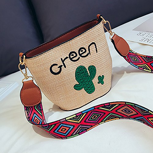 Wide Women's Embroidered Cactus Bag Crochet Shoulder Crossbody Purse QZUnique Khaki Strap Floral Bucket Bag Bag Handbag R01q5gdw