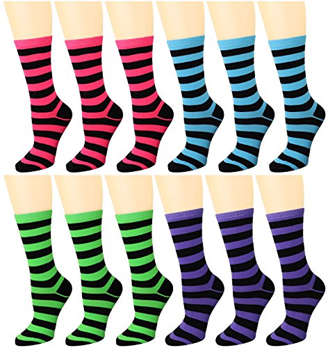 12 Pairs Women's Crew Socks Assorted Colors (Blue, Green, Hot Pink, Purple) 96008