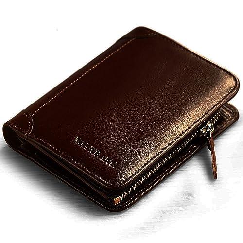 Genuine Cowhide Leather Mens Zipper Zip-Around Bifold Popular Wallet
