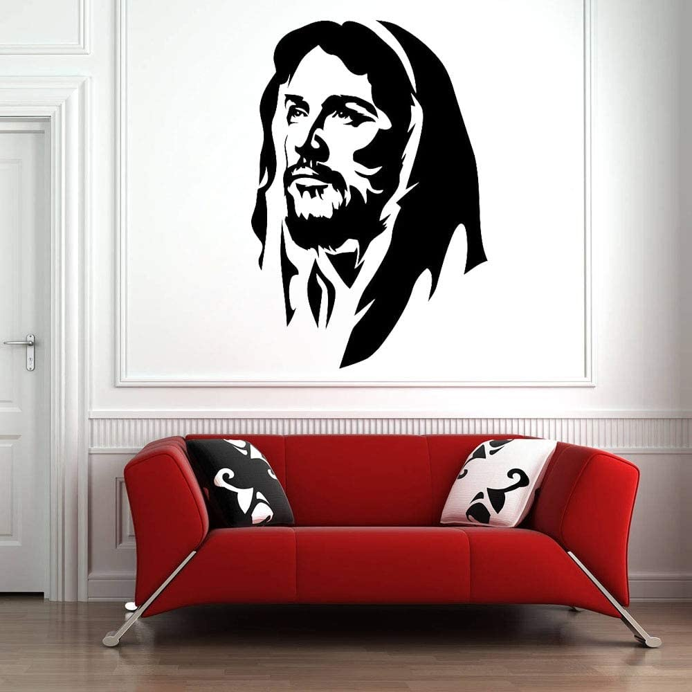 yaonuli Jesucristo Pegatina de Pared Vinilo Pegatina Dormitorio Iglesia decoración Cristiano Papel de Pared 44x29 cm