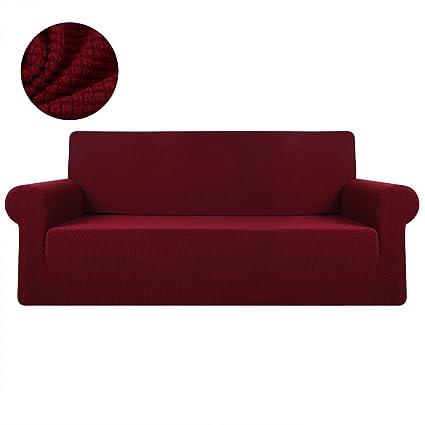 FlowersSea Fundas de sofá de Esquina de 1/2/3 plazas, de fácil Ajuste, de poliéster, Elastano, elástico, Funda de sofá, Rojo, 3seat