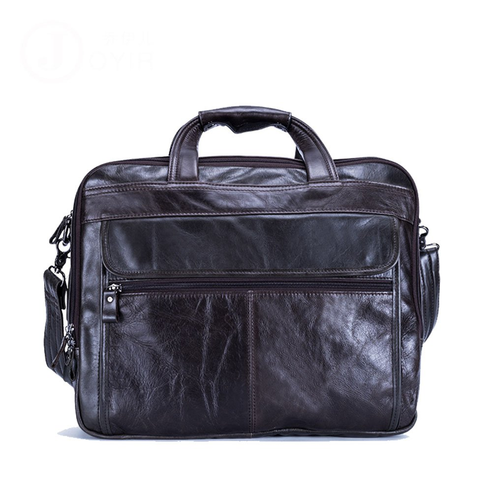 Zxcvlina Laptop Briefcase Mens Leather Briefcase Messenger Tote Crossbody Shoulder Satchel Bag 15'' Laptop Handbag (Color : Coffee Color)