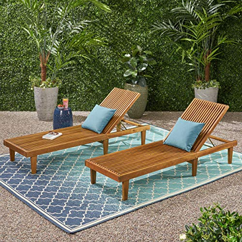 Addisyn Outdoor Wooden Chaise Lounge Set of 2 , Teak Finish