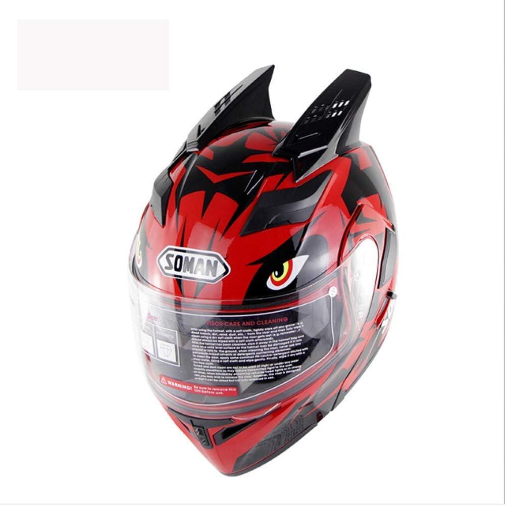 アダルトオフロードモトクロスオープンフェイスヘルメット、ダブルレンズオートバイオールラウンドヘルメットDOT認定ダートバイクATVバイク乗馬ヘルメット、XL,大