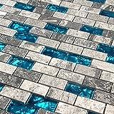 Small Bathroom Flooring Ideas Ocean Blue Glass Tile Backsplash Kitchen Tiles Marble Stone Gray Mosaic Bathroom Wall Subway Fireplace Deco Sheets (1PCS Small Sample 2.8x5.9 Inches)